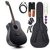 Vangoa 4/4 Guitare pour Gaucher Acoustique électrique Guitare Egaliseur 4 bandes avec débutants kits, 104 cm, Noir