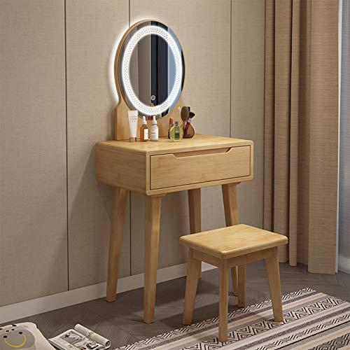 WYJJ Wohnmöbel aus Holz 3-teiliges Waschtischset 3-Farben-LED-Lichtspiegel Moderne Kommode für Schlafzimmer