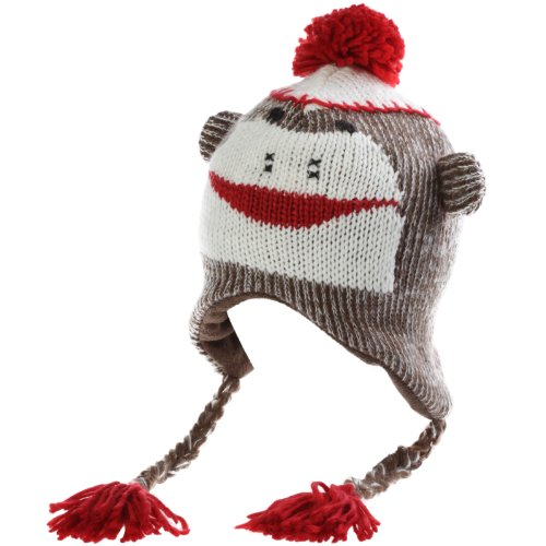 The Original Kids Knit Sock Monkey Hat (Red/Brown, One Size)