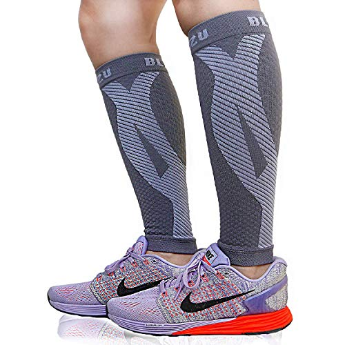 BLITZU Calf Compression Sleeves For Women & Men Leg Compression Socks for Runners, Shin Splint, Recovery from Injury & Pain Relief Great for Running, Maternity, Travel, Nurses Gray L-XL
