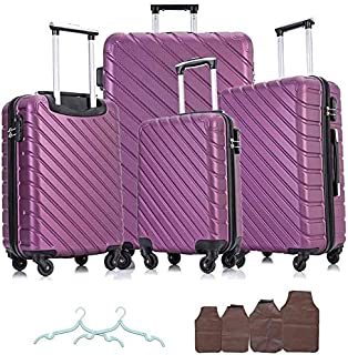 Apelila 4 Piece Hardshell Luggage Sets,Travel Suitcase,Carry On Luggage with Spinner Wheels Free Cover&Hanger Inside (Purple)