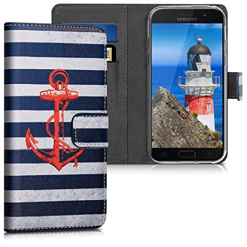 kwmobile Hülle kompatibel mit Samsung Galaxy A5 (2017) - Kunstleder Wallet Hülle mit Kartenfächern Stand Anker Streifen Vintage Rot Dunkelblau Weiß