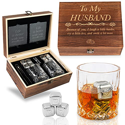 Anniversary Gifts for Him   Men   Husband - Whiskey Glass Set Engraved 'To My Husband' Husband Gifts for Birthday   Wedding Anniversary   Valentine's Day   Husband Love   First   Second   Third Year