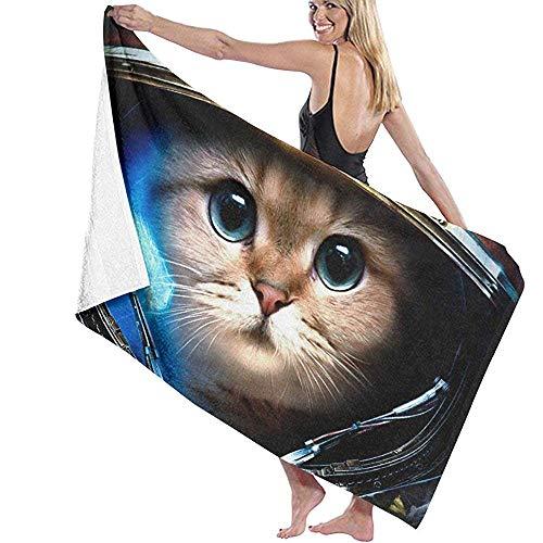 Niet van toepassing Kat Het dragen van een Space Suit Beach Handdoek Persoonlijkheid Zwembad Water Oversized Badhanddoek 31.5