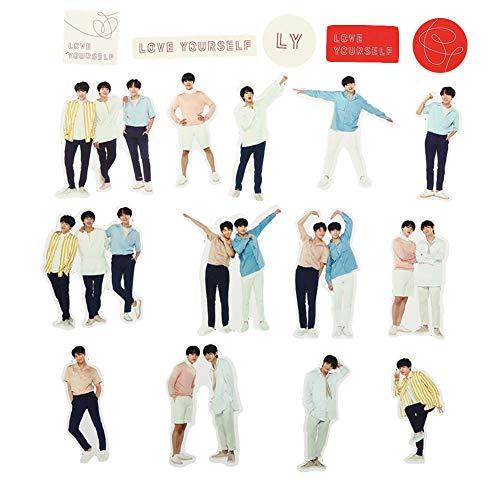 ALTcompluser Kpop BTS Bangtan Boys Stickers Wasserdicht Aufkleber Foto in voller Länge Vinyl Aufkleber für Laptop, Macbook, Gepäck, Skateboard, 18 Stk
