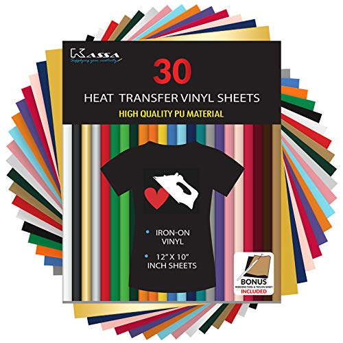 Kassa HTV Heat Transfer Vinyl Bundle - 30 Sheets (12 x 10) - Iron on Vinyl for Heat Press Machine - Perfect for T Shirts & Other Fabric - Bonus Teflon Sheet