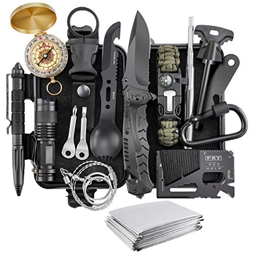 Survival Kit, Verifygear 17 in 1 Professional Survival Gear Tool Emergency Tactical First Aid...