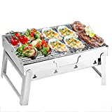 FHISD BBQ Grill Stainless Steel Portable BBQ Charcoal Grill Barbecue Grill Foldable Small Smoker Grill for Camping Outdoor Cooking Hiking Picnics Party, Suitable for 2 People, Black,B