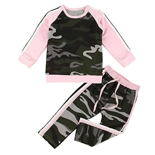 DaMohony 2PCS Ropa bebés niñas Camiseta + Pantalones Trajes de Camuflaje Conjunto chándal para bebés niñas