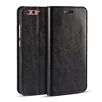 iCoverCase Compatible with Huawei P10 Plus Case Genuine Leather Case,Shockproof Heavy Duty Protective with Folio Flip Wallet Leather Case  Black