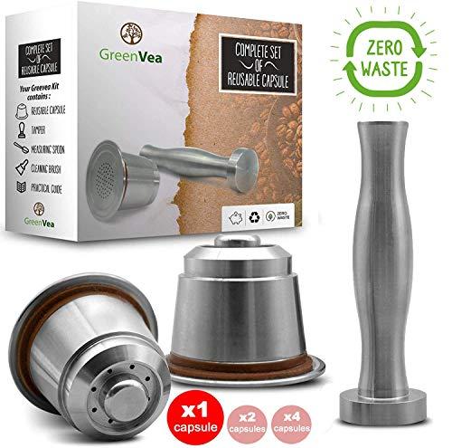 Greenvea - Komplettes Set von wiederbefüllbaren und wiederverwendbaren Nespresso-Kaffeekapseln. Nachfüllbare Kaffee- und Teekapsel aus Edelstahl. (1 Kapsel, Tamper, Guide, Dosierlöffel & Bürste)