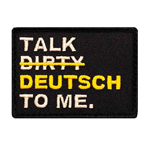 Café Viereck ® Bundeswehr Fun Patch Gestickt mit Klett - 5 cm x 7 cm (Gold/schwarz)