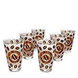 Set di 6 bicchieri da latte macchiato, 240 ml, effetto vetro opalino con chicchi di caffè e scritta I Alternativa per caffè al latte, Café au Lait, Cacao, Chai Latte & Co
