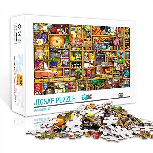 PrintABC Puzzle di Grande Saggezza per Adulti e Bambini Armadi da Cucina Sviluppa Pazienza Puzzle in Legno 1000 Pezzi 75x50 cm