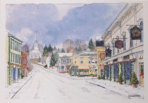 """""""Winter Evening in Mystic"""", Boxed, Scenic Christmas Cards, by Onion Hill Designs"""