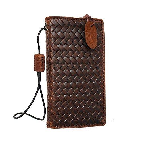 Genuine Vintage Leather Handmade Case for Apple iPhone SE 5c 5s Book Wallet Cover Id Holder Credit Cards Slim Brown daviscase