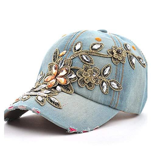 SSHZJUS Gorra de béisbol de algodón de Las Mujeres Gorra de béisbol de Moda Pintura Diamante Bordado Flor Dril de algodón Equipado...