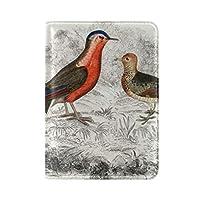 抽象鳥の絵旅行男性女性のためのパスポートホルダー本革カバーケース