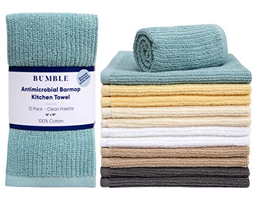 "Product Image of the Bumble 12-Pack Barmop Kitchen Towels / 16"" x 19"" Premium Kitchen Hand Towels/Super Absorbent Heavy Weight Cotton/Ribbed Weave"