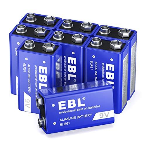 EBL 9V Alkaline Battery - Long Lasting 9 Volt Battery for Smoke Alarms, Electronic Toys and More - Pack of 8