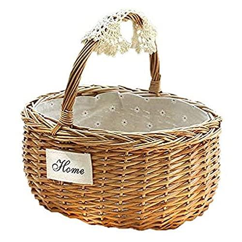 Picknickkörbe Handgefertigte Weidenkorb Camping Korb Einkaufskorb mit Griff Picknickbox Obst Blumenkörbe Handgewebt