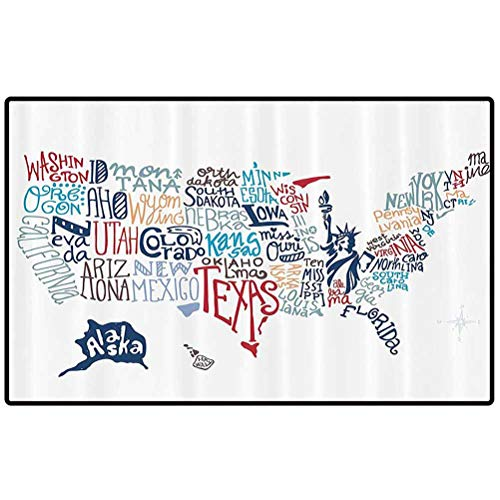 USA Map Throw Door Mat Culture Tourist Names of American Town in Colorful Artful Typography City Design Rubber Back Non Slip Door Mat Entrance Rug Shoe Scraper