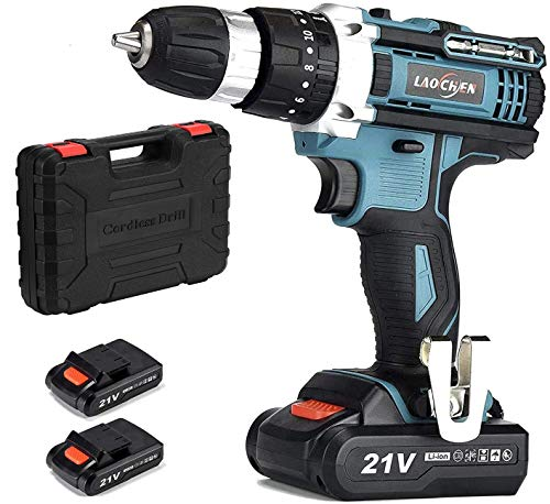 SP-Cow 21V Cordless Drill Driver with Kitbox,with Powerful 2x1500mA Lithium Battery,32Nm of Torque, 2-Speed,1H Fast Charging,LED Work Light,for Home Improvement & DIY Project,Charger Included,Green