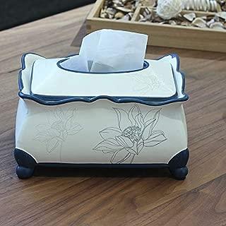 NLXTXQC Vintage Tissue Holder for Living Room Hand-Painted Lotus Blue Stroke Zen Paper Towel Box Home Desktop Ceramic Ornaments Dispensers