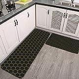 Juego de 2 alfombras de cocina, simple y elegante, diseño de panal, negro, amarillo, antideslizante, alfombra de cocina y alfombras de franela suave, antideslizante, lavable, duradera
