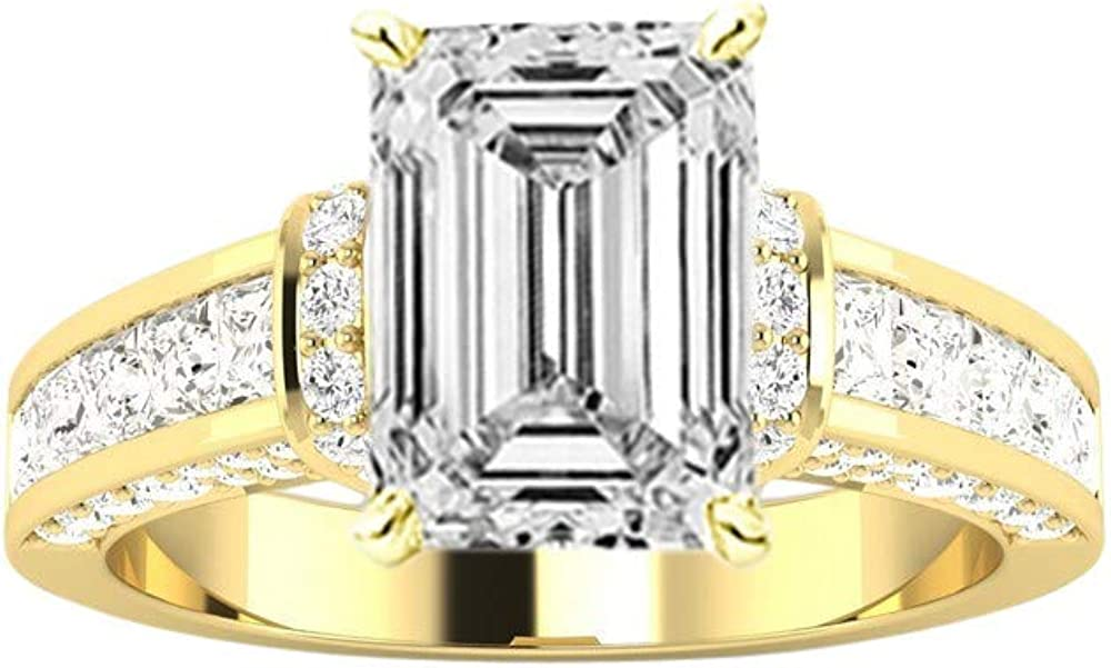 Ranking TOP9 2 Ctw 14K White Gold Channel Contemporary Princess Emerald Max 52% OFF Round