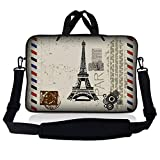 LSS 17 inch Laptop Sleeve Bag Carrying Case Pouch w/Handle & Adjustable Shoulder Strap for 17.4' 17.3' 17' 16' Apple Macbook, GW, Acer, Asus, Dell, Hp, Sony, Toshiba, Paris Design
