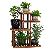 PENGKE Multi Layer Wood Plant Stand Indoor Outdoor,4 Tier 7 Potted Flower Pot Holder,Plant Display Shelving for Patio Garden Corner Balcony Living with 3 Free Gardening Tools