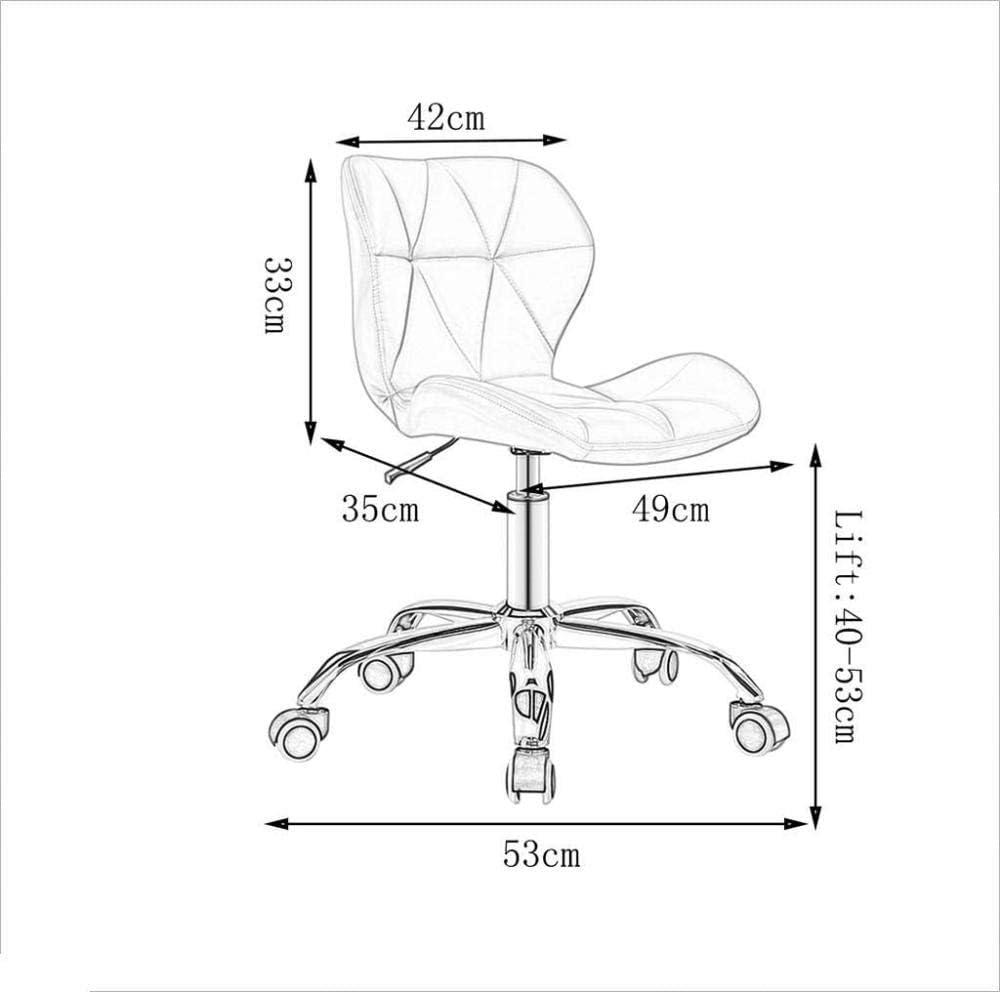Faux Cuir Bureau à Domicile Ordinateur chaises de Bureau Tabouret pivotant Chaise sur Roues pour Bureau à Domicile réunion Meubles de Salon (Couleur: Rose) Improve Beige