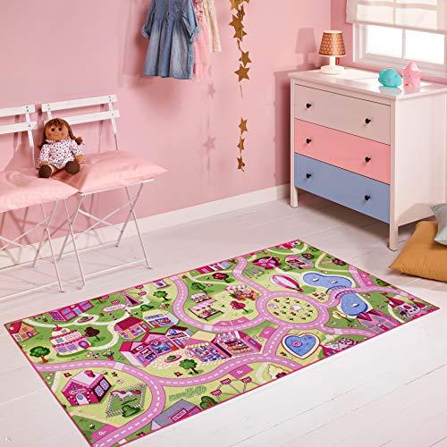 Carpet Studio Spielteppich Straße 95x200cm, Kinderteppich für Schlafzimmer, Kinderzimmer & Spielzimmer Mädchen, Waschbar, Einfach zu Säubern, rutschfest - Sweet Town