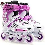 LLKK Patines en línea ajustables, para adultos para niñas y niños, color negro, blanco, dorado y morado, patines en línea