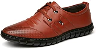 Dongxiong Simple in this classic leisure loafers for men's flat Oxford lace-up leather rubber sole round toe varnish style solid color ring perforation (Color : Brown, Size : 39 EU)