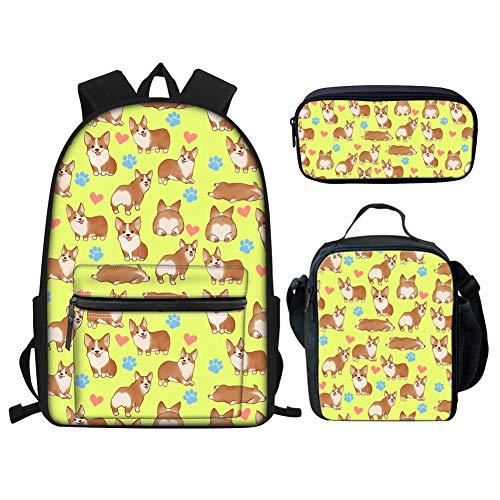 Showudesigns Corgi Backpack and Lunchbox Yellow Animal Dog Student Rucksack Teen Girls School Bag with Pencil Case Lunch Bag Kids Bookbag Set 3 in 1