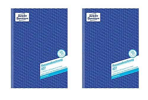 AVERY Zweckform 427 Kassenabrechnung A4 2x50 Blatt weiß/gelb (A4 / 2er Pack)