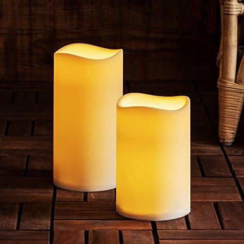 Lights4fun 2er Set LED Außenkerze Gartendeko mit Zeitschaltuhr Batteriebetrieb