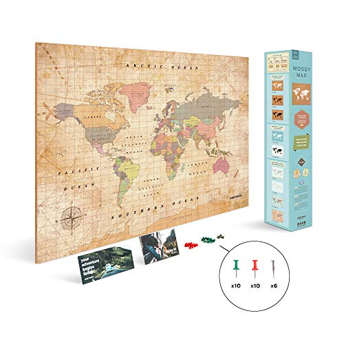 Miss Wood Woody Old School Mapa, Corcho, Multicolor, XL (60 x 90 cm)