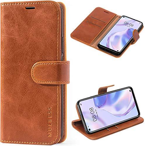 Mulbess Handyhülle für Huawei P40 Lite 5G Hülle Leder, Huawei P40 Lite 5G Handy Hüllen, Vintage Flip Handytasche Schutzhülle für Huawei P40 Lite 5G Hülle, Braun