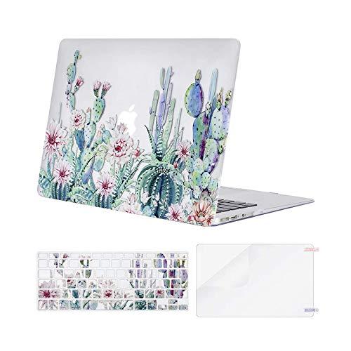 MOSISO Hülle Kompatibel mit MacBook Air 13 Zoll (A1369 / A1466, 2010-2017 Version), Plastik Hartschale Hülle mit Passender Farbe Tastaturschutz (EU-Layout) mit Displayschutz, Klar Base Kaktus