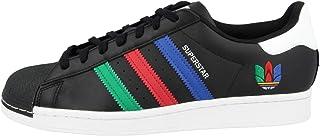 adidas Sneaker Uomo Superstar Nera con Strisce Colorate Autunno Inverno 2020