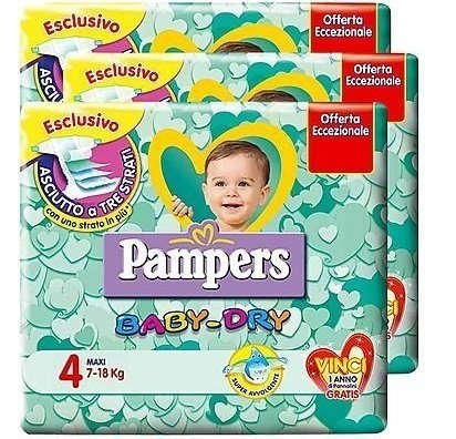 IRPot - 6 PACCHI PANNOLINI PAMPERS BABY DRY TAGLIA 4 114 PEZZI