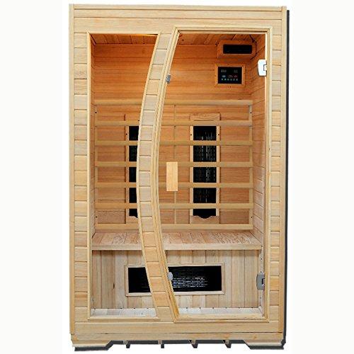Artsauna Infrarotkabine Schweden 120 mit Keramikstrahler | 2 Personen | 120 x 100 cm | Hemlockholz | Infrarot Kabine Infrarotsauna Infrarot Wärmekabine