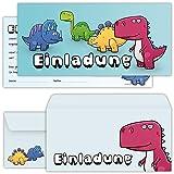 beriluDesign Dino Einladungskarten Jungen zum Geburtstag für Kinder Jungs Mädchen - Einladungen Kindergeburtstag Party mit Umschlägen