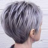 PHOCAS Ombre Grey Pixie Wigs for White Women Short Cut Layer Wigs with Bangs Free Part Pixie Grey Wigs Hair End with Little Pink