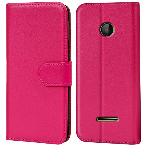 Verco Lumia 532 Hülle, Handyhülle für Microsoft Lumia 532 Tasche PU Leder Flip Case Brieftasche - Pink