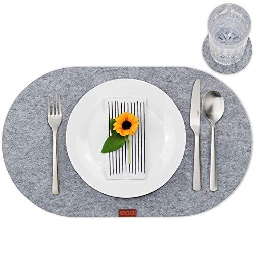 mokinu - 6er Filz Tischset inkl. Glas-Untersetzer - Premium Platzdeckchen, Set für 6 Personen, Design Platzset oval, abwaschbare Tischuntersetzer hellgrau