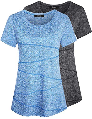 iClosam Camiseta para Mujer Yoga Deportiva Colores Lisos Fitness Transpirable Sueltos Gimnasio Ropa Algodon De Mujers (Gris Oscuro + Azul, XL)